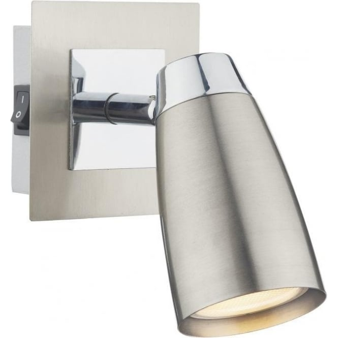 Dar Lighting Loft Single Light Switched Low Energy Spotlight in Polished and Satin Chrome
