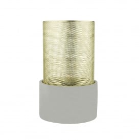 Loki Single Light Large Table Lamp With A Concrete Grey Base And Polished Brass Shade