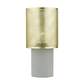 Loki Single Light Table Lamp With A Concrete Grey Base And Polished Brass Shade