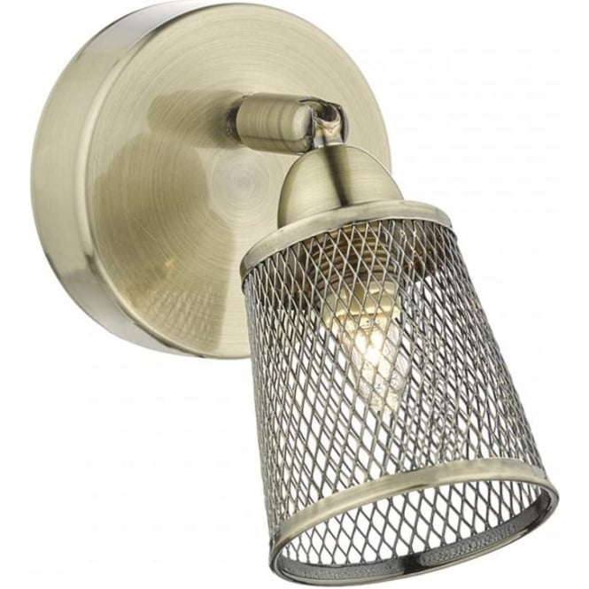 Dar Lighting Lowell Single Light Switched Wall Fitting in Antique Brass Finish