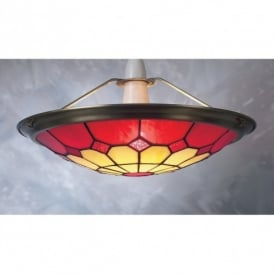 Bistro Tiffany Ceiling Light Uplighter Shade In Red Finish