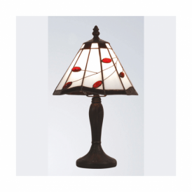 Tiffany Ruby Leaf Twig Table Lamp
