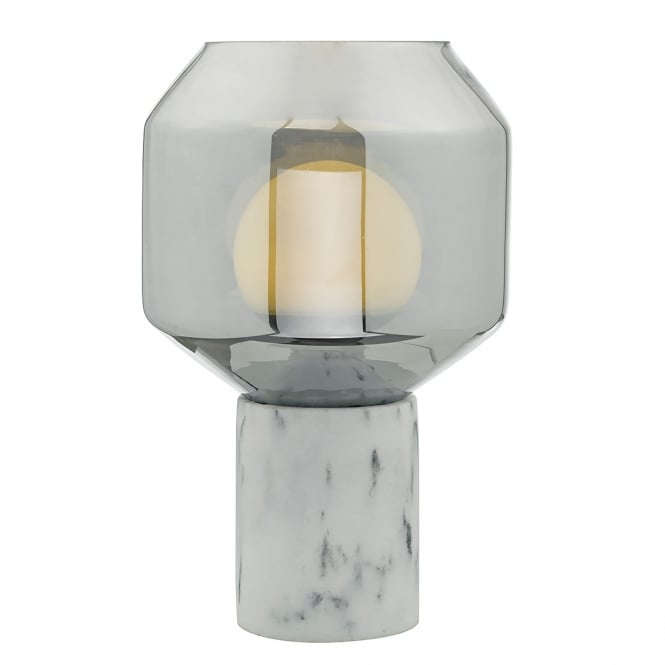 Dar Lighting Loxton Single Light Table Lamp in Marble Effect Finish with Smoked Glass