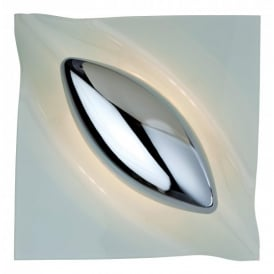 Lucas Single Light Wall Lamp in Chrome with White Glass