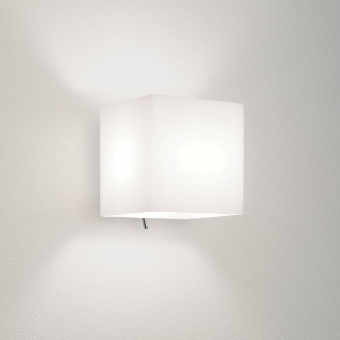 Astro Lighting Luga Square Switched Single Light Wall Fitting with White Glass Shade