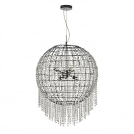 Lupita 6 Light Ceiling Pendant in Black and Crystal Finish