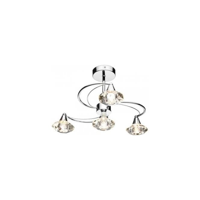 Dar Lighting LUT0450 Luther 4 Light Semi Flush Ceiling Fitting in Polished Chrome Finish