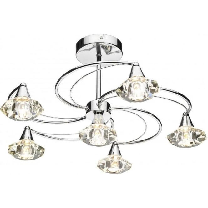 Dar Lighting Luther 6 Light Ceiling Fitting in Polished Chrome with Shades