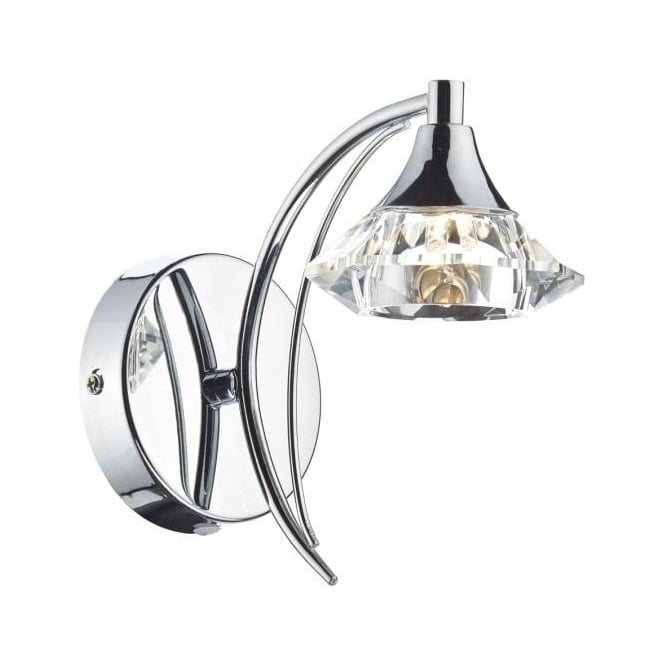Dar Lighting Luther Single Light Switched Polished Chrome Wall Fitting with Crystal Shade