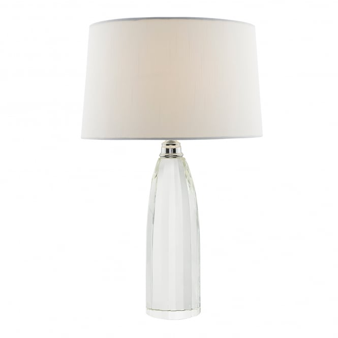 Dar Lighting Lyla Single Light Table Lamp With Solid Crystal Base And Ivory Faux Silk Shade