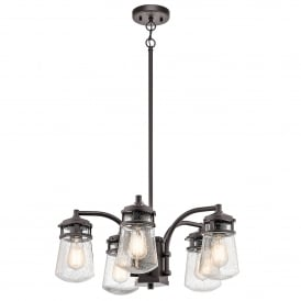 Lyndon Outdoor 5 Light Ceiling Pendant in Architectural Bronze Finish with Seeded Glass