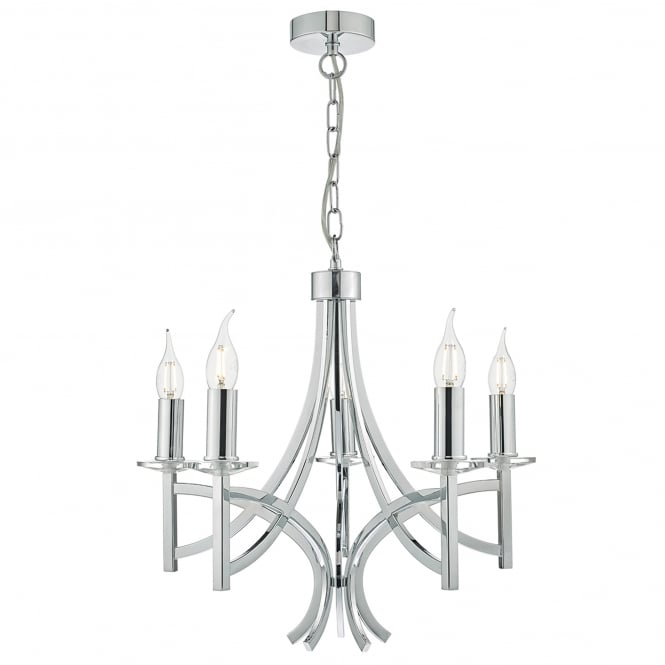 Dar Lighting Lyon 5 Light Multi-Arm Ceiling Chandelier in Polished Chrome Finish with Crystal Detail