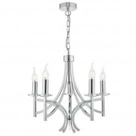 Lyon 5 Light Multi-Arm Ceiling Chandelier in Polished Chrome Finish with Crystal Detail