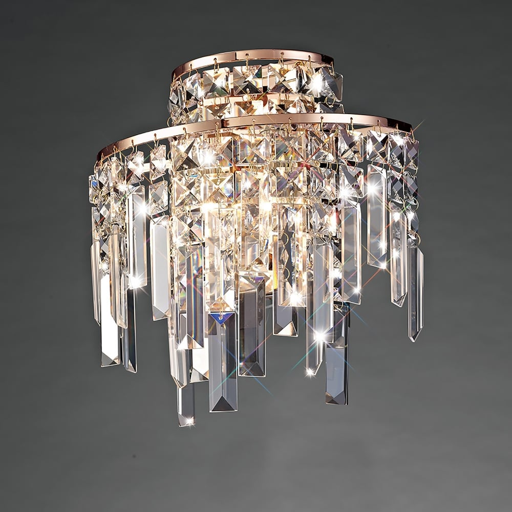 Diyas Maddison 2 Light Wall Fitting in Rose Gold with Crystal Decoration - Lighting Type from ...