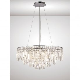 Maddison Circular 8 Light Crystal And Polished Chrome Pendant