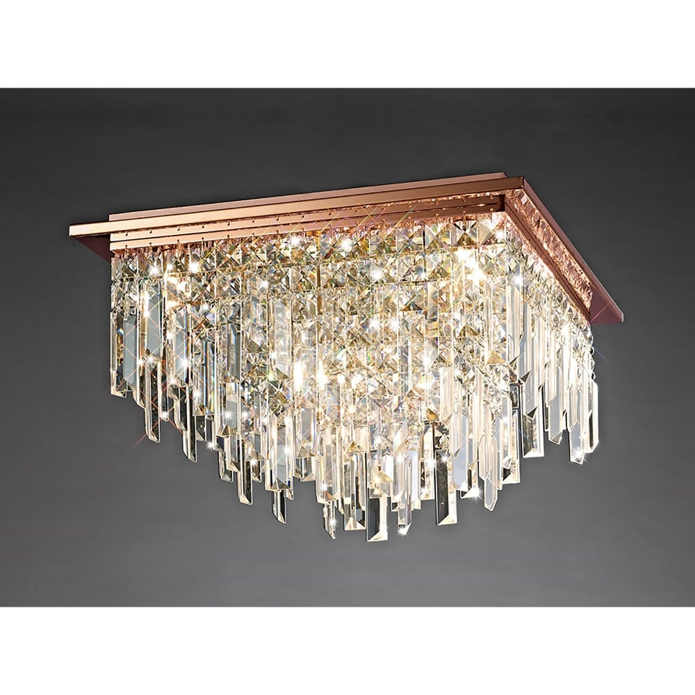 Diyas Maddison Square 6 Light Rose Gold Ceiling Fixture