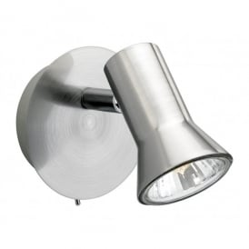 Magnum Single Switched Spot Light Fitting in Brushed Steel Finish