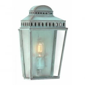 Mansion House Single Light Solid Brass Outdoor Wall Lantern in a Verdigris Finish