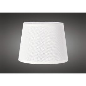 15cm High Round Small Tapered Shade in White Woven Fabric