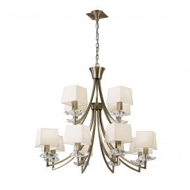 Akira 12 Light Ceiling Pendant in Antique Brass Finish with Cream Shades