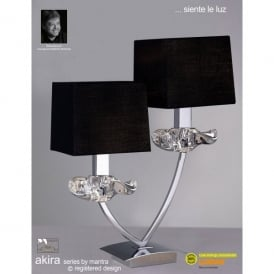 Akira 2 Light Table Lamp In Polished Chrome Finish With Black Shade