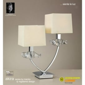 Akira 2 Light Table Lamp In Polished Chrome Finish With Cream Shade