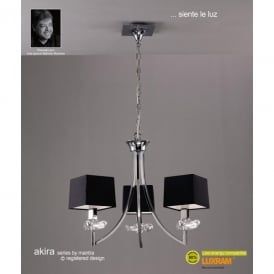 Akira 3 Light Ceiling Pendant in Polished Chrome Finish with Black Shades