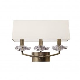 Akira 3 Light Switched Wall Fitting in Antique Brass Finish with Cream Shade