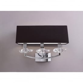 Akira 3 Light Switched Wall Fitting in Polished Chrome Finish with Black Shade