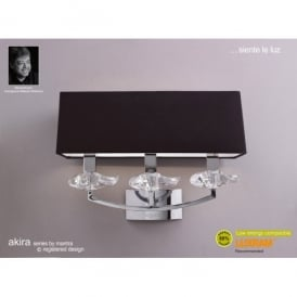 Akira 3 Light Wall Fitting In Polished Chrome Finish With Black Shade