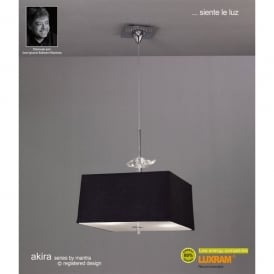Akira 4 Light Ceiling Pendant in Polished Chrome Finish with Black Shades