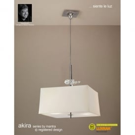 Akira 4 Light Ceiling Pendant In Polished Chrome Finish With Cream Shade