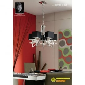 Akira 5 Light Ceiling Pendant in Polished Chrome Finish with Black Shades