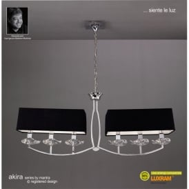Akira 6 Light Ceiling Pendant in Polished Chrome Finish with Black Shades