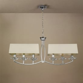 Akira 6 Light Ceiling Pendant in Polished Chrome Finish with Cream Shades