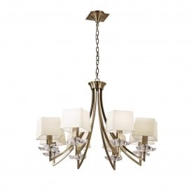 Akira 8 Light Ceiling Pendant in Antique Brass Finish with Cream Shades