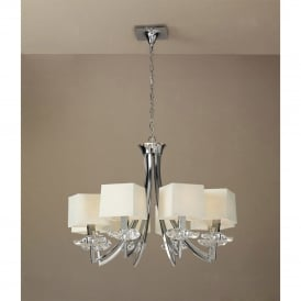 Akira 8 Light Ceiling Pendant in Polished Chrome Finish with Cream Shades