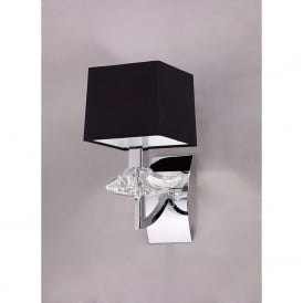 Akira Single Light Switched Wall Fitting in Polished Chrome Finish with Black Shade