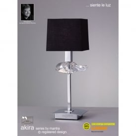 Akira Single Light Table Lamp In Polished Chrome Finish With Black Shade