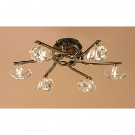 Alfa 6 Light Ceiling Fitting in Antique Brass Finish