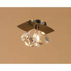 Alfa Single Light Flush Ceiling Fitting in Antique Brass Finish