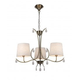 Andrea 3 Light Multi Arm Ceiling Fitting in Antique Brass Finish and Cream Shades
