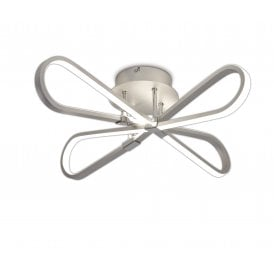 Bucle Integrated LED Semi Flush Ceiling Fitting in Silver and Chrome Finish with White Acrylic Diffuser