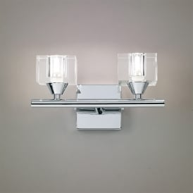 Cuadrax Double Halogen Switched Wall Light in Polished Chrome Finish