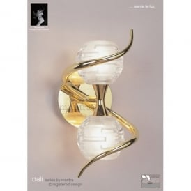 Dali 2 Halogen Light Switched Wall Fitting in Polished Brass Finish