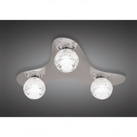 Dali 3 Light Halogen Flush Ceiling Fitting in Polished Chrome Finish