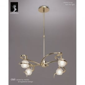 Dali 4 Light Halogen Ceiling Pendant Fitting In Polished Brass Finish