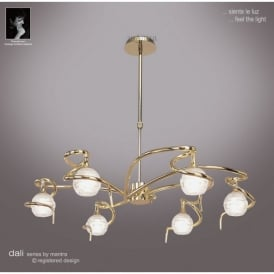 Dali 6 Light Halogen Ceiling Pendant Fitting In Polished Brass Finish