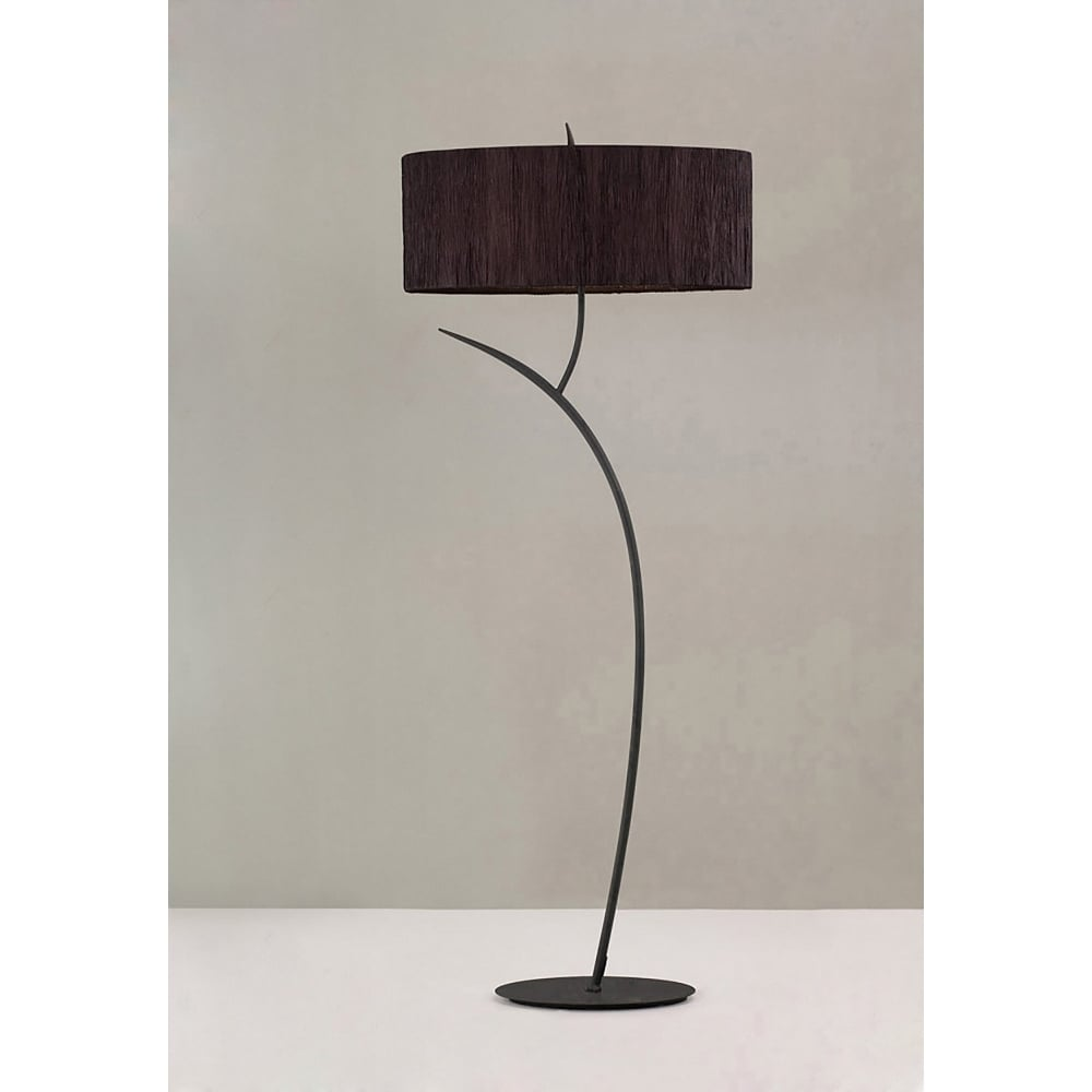 Low Energy Floor Lamps: Mantra Eve 2 Light Low Energy Floor Lamp in Anthracite Finish with Black  Shade,Lighting