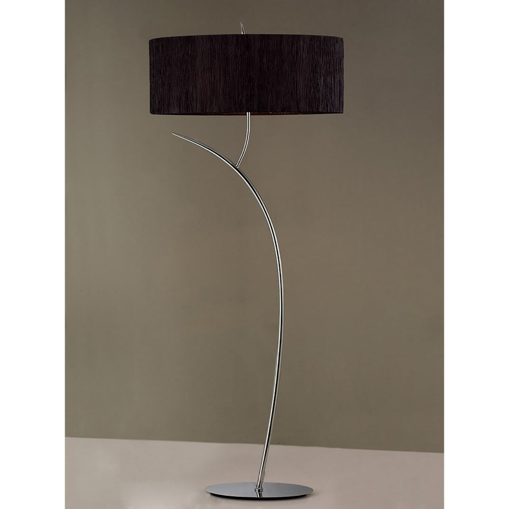 Low Energy Floor Lamps: Mantra Eve 2 Light Low Energy Floor Lamp in Polished Chrome Finish with  Black Shade - Lighting Type from Castlegate Lights UK,Lighting